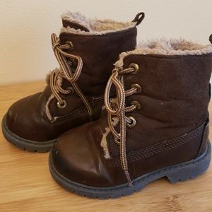 Gap kids toddler brown boots with faux fur
